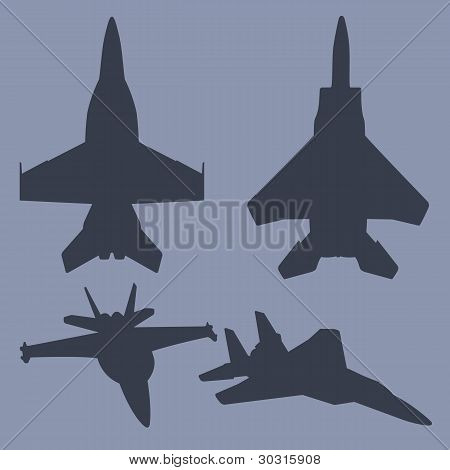 Vector Jet Fighter Silhouettes