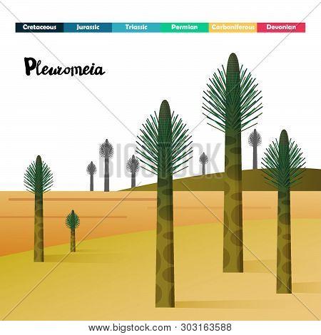 Pleuromeia Lycopsids Age Giant Plants Prehistoric Vector Illustration