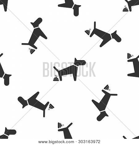 Grey Dog Pooping Icon Isolated Seamless Pattern On White Background. Dog Goes To The Toilet. Dog Def