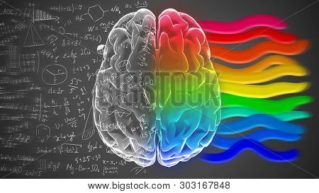 Right And Left Hemisphere Of Brain With Mathematical Formulas And Colorful Stripes. Creative And Log