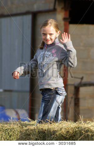 Farm Girl Waving