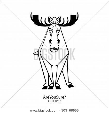 Cartoon Character Forest Dweller. Funny Cool Elk Is Standing In A Pose And Grimaces On A White Backg