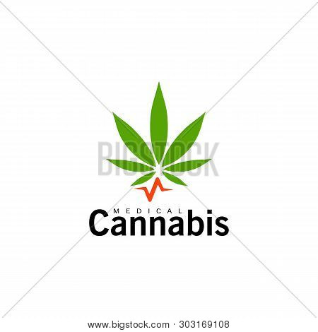 Medical Cannabis Icon. Green Hemp Leaf, Marijuana Symbol. Isolated Simple Flat Logo Template. Concep