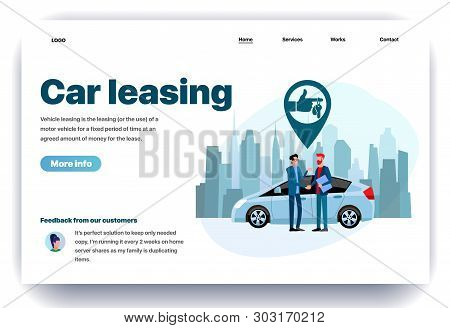 Web Page Flat Design Template For Car Leasing. Business Landing Page Vehicle Rental In City. Automob