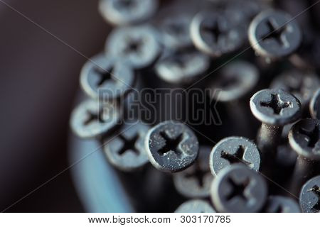 Detailed Dark Background And Texture Full Frame Of Pile Metal Steel Nails For Construction Of Carpen