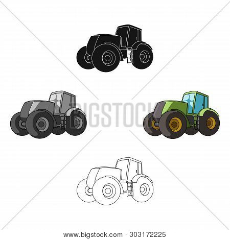 Combine Harvesting .green Tractor With Large Wheels. Agricultural Equipment For Farmers.agricultural