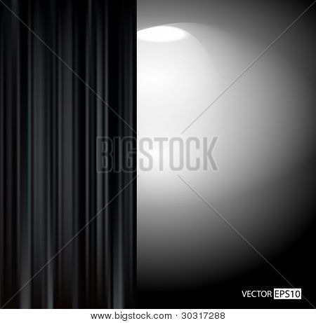 Black curtain in dark room
