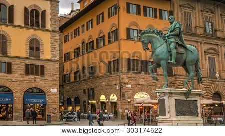 Florence, Italy - November 12th: Statue Of Cosimo De Medici On Horseback In Piazza Della Signoria, F