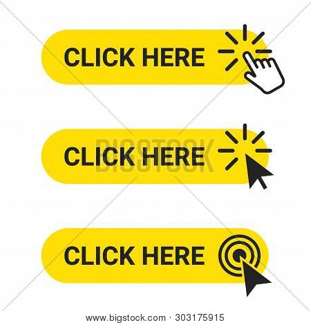 Click Here. Set Of Web Buttons With Action Of Mouse Cursor And Hand Pointer. Click Here, Ui Button C