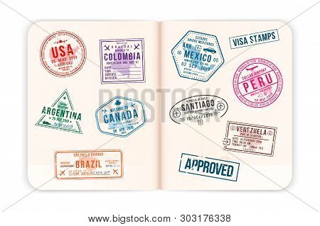 Realistic Passport Pages With Visa Stamps. Opened Foreign Passport With Custom Visa Stamps. Travel C