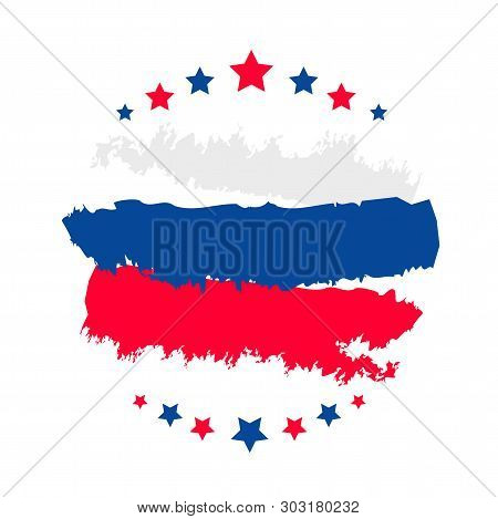 Happy Russia Day Template Banner For Text. Vector Tricolor Poster, Gift Card Of Russia Day Holiday.