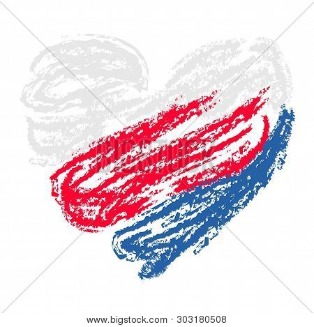 Tricolor Heart Drawing With White, Blue, Red Brushes. Vector Background For Gift Card, Banner, Poste