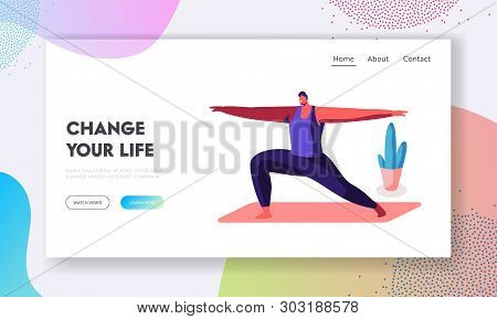 Smiling Man Doing Lunge With Hands By Sides, Warrior Pose, Healthy Life, Sport Class In Gym. Sportsm