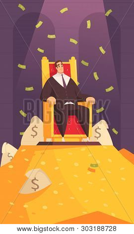 Rich Man Wealth Symbol Cartoon Composition With Millionaire On Throne Atop Gold Mount Bathing In Mon
