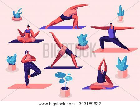 Male And Female Characters Sport Activities Set. People Doing Sports, Yoga Exercise, Fitness, Workou