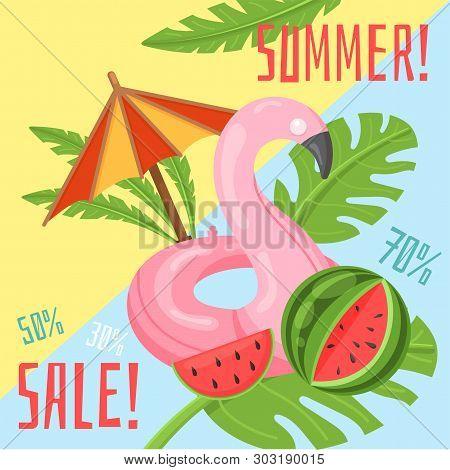 Vector Image, Banner With Summer Spirit, Summer Sale. Hot Summer Sale. Special Offer. Summertime Sal