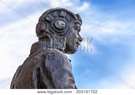 Samara, Russia - May 26, 2019: Fragment Sculpture Of The Soldier Of The Red Army