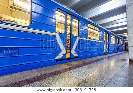 Samara, Russia - May 26, 2019: Blue Subway Train At The Underground Station