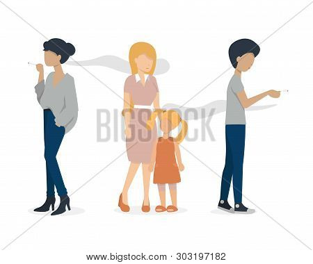 Woman And Man Smoking A Cigarette. Mother And Baby Are Standing Nearly. Flat Vector Illustration