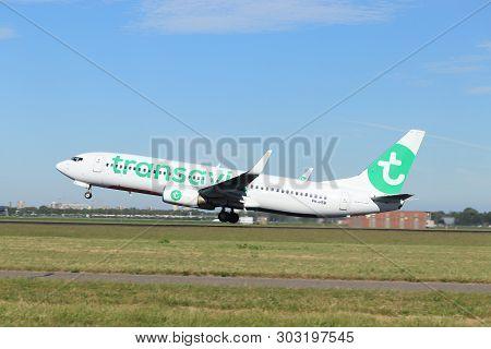 Amsterdam The Netherlands - May 24th, 2019: Ph-hsb Transavia Boeing 737-800 Takeoff From Polderbaan