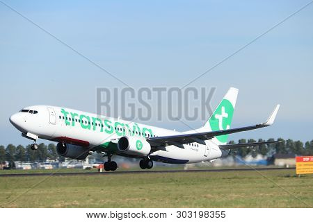 Amsterdam The Netherlands - May 24th, 2019: Ph-hxn Transavia Boeing 737-800 Takeoff From Polderbaan