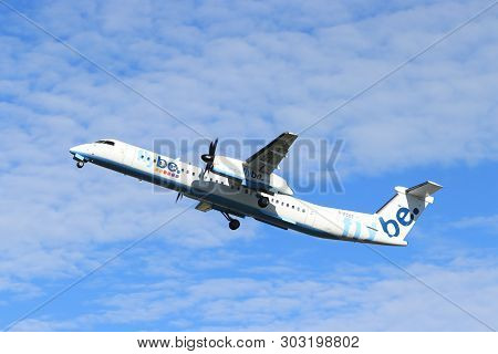 Amsterdam The Netherlands - May 24th, 2019: G-ecot Flybe De Havilland Canada Dhc-8-400 Takeoff From