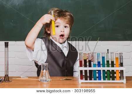 Elementary School. Little Children At School Lesson. Back To School. A Chemistry Demonstration. Chil