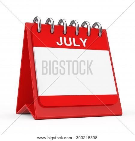 Red Desktop Calendar Icon Showing A July Month Page On A White Background 3d Rendering