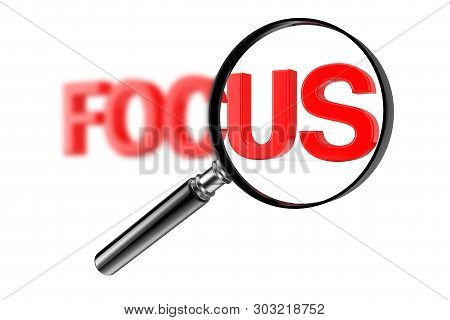 Magnifier Focused Glass Concept With Red Blurry Focus Sign On A White Background. 3d Rendering