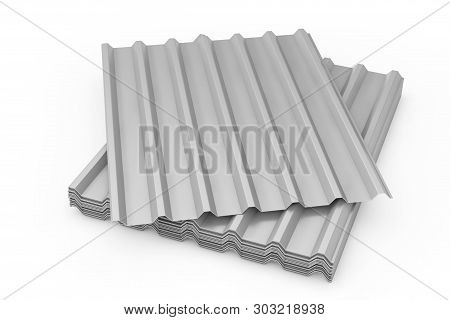 Stack Of Steel Metal Zinc Galvanized Wave Sheets For Roof On A White Background. 3d Rendering