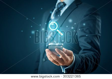 Search, Find And Seo Internet On Smart Phone Concepts.