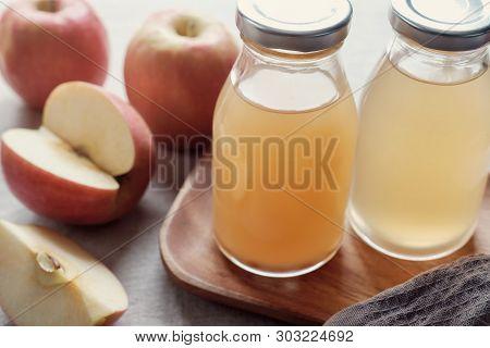 Apple Cider Vinegar With Mother In Glass Bottles, Probiotics Food For Gut Health