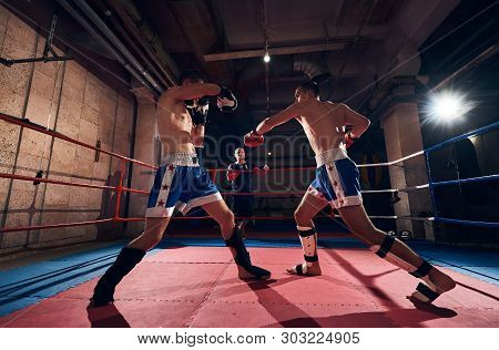 Martial Male Sportsman Kickboxer Training Kickboxing With Sparring Partner, Fighting In The Ring At