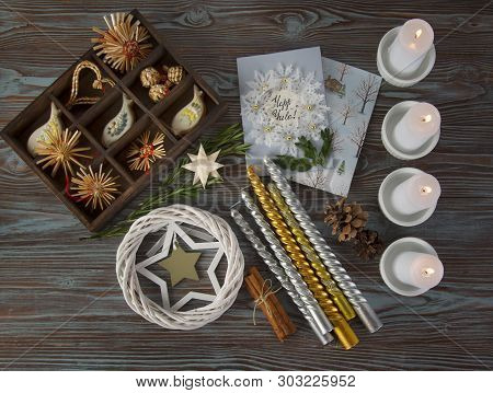 Yuletide Altar With Holiday Postcard, Preparations For Wiccan Ritual