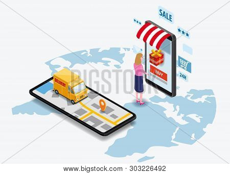 Shopping Online And Online Delivery Concept. Smartphone With Online Store, Truck, Buyer, 3d Vector I