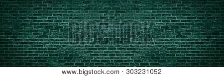 Wide Dark Bright Teal Brick Wall. Old Brickwork Texture. Retro Grunge Panoramic Background