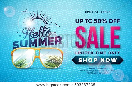 Summer Sale Design With Typography Letter And Exotic Palm Leaves In Sun Glasses On Blue Background.