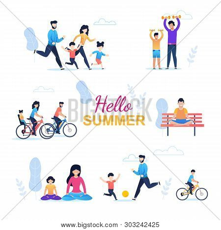 Hello Summer Seamless Pattern With Happy Family. Cartoon Parents And Children Cycling, Running, Exer