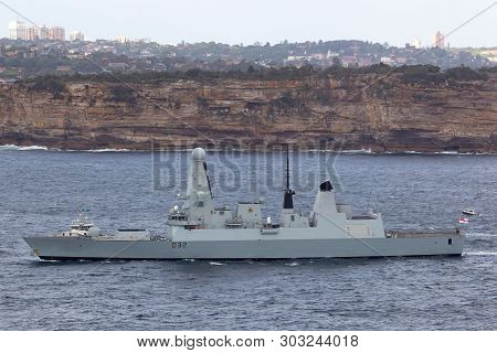 Sydney, Australia - October 11, 2013: Hms Daring Type 45 (daring-class) Air-defence Destroyer Of The