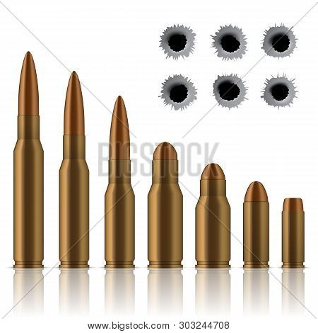 Creative Illustration Of Realistic Shot Gun Bullets, Holes Isolated On Background. Art Design Differ