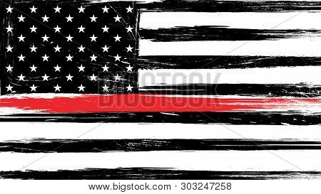 Grunge Usa Flag With A Thin Red Line - A Sign To Honor And Respect American Firefighters.