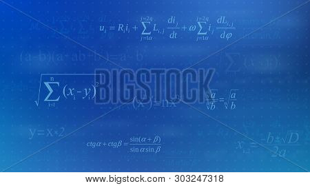 Creative Illustration Of Math Equation, Mathematical, Arithmetic, Physics Formulas Background. Art D