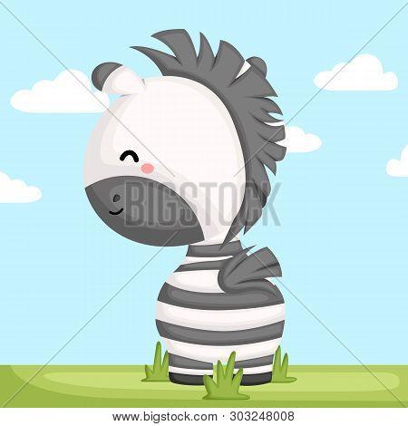 A Vector Of A Adorable Zebra Looking Forward