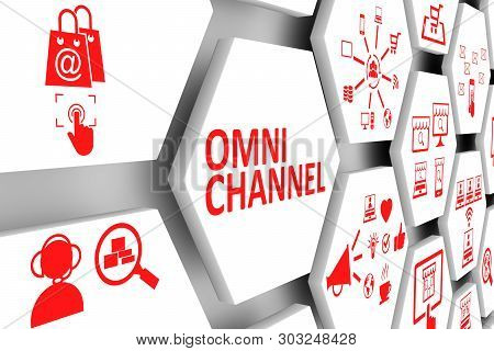 Omni Channel Concept Cell Background 3d Illustration