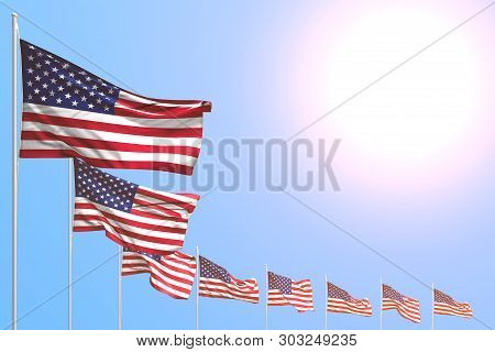 Wonderful Many Usa Flags Placed Diagonal On Blue Sky With Place For Your Content - Any Celebration F