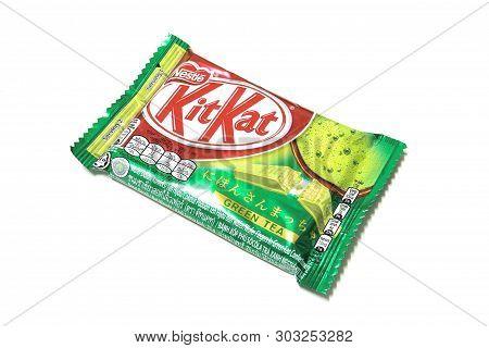 Bangkok Thailand - Feb 5, 2016: Kit Kat Green Tea Flavor And Chocolate Bar Isolated On White Backgro