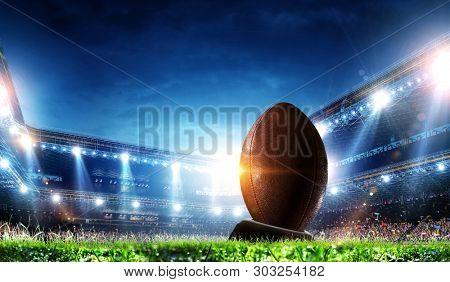 Full night football arena in lights