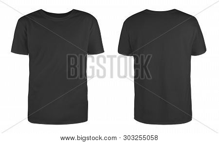 Men Black Blank T-shirt Template,from Two Sides, Natural Shape On Invisible Mannequin, For Your Desi
