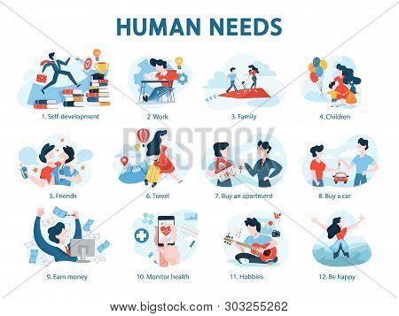 Human Needs Set. Personal Development And Self-esteem