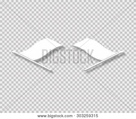 Empty Flags Lay On Tranparent Background With Realistic Shadows In Isometric Design.